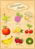 Delicious Fruits - Vector Set — Stock Vector