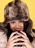 Happy and warm for winter. — Stock Photo