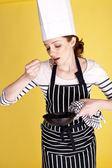 Bello donna chef. — Foto Stock