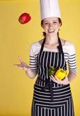 Beautiful female chef. — Stock Photo