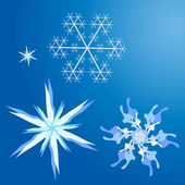 Simple cute snowflakes set — Stock Vector