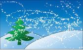 Tree on snow — Stock Vector
