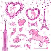 Valentine doodle set — Stock Vector