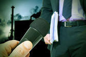 Pollution and businessman with microphone — Stock Photo