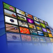 Stock Photo: Thematic channels of information society, tv screen