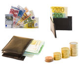 Collection of money and bills in white background — Stockfoto