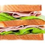 Appetizing sandwich isolated on white background — Stock Photo