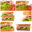 Collection set and sandwiches — Stock Photo