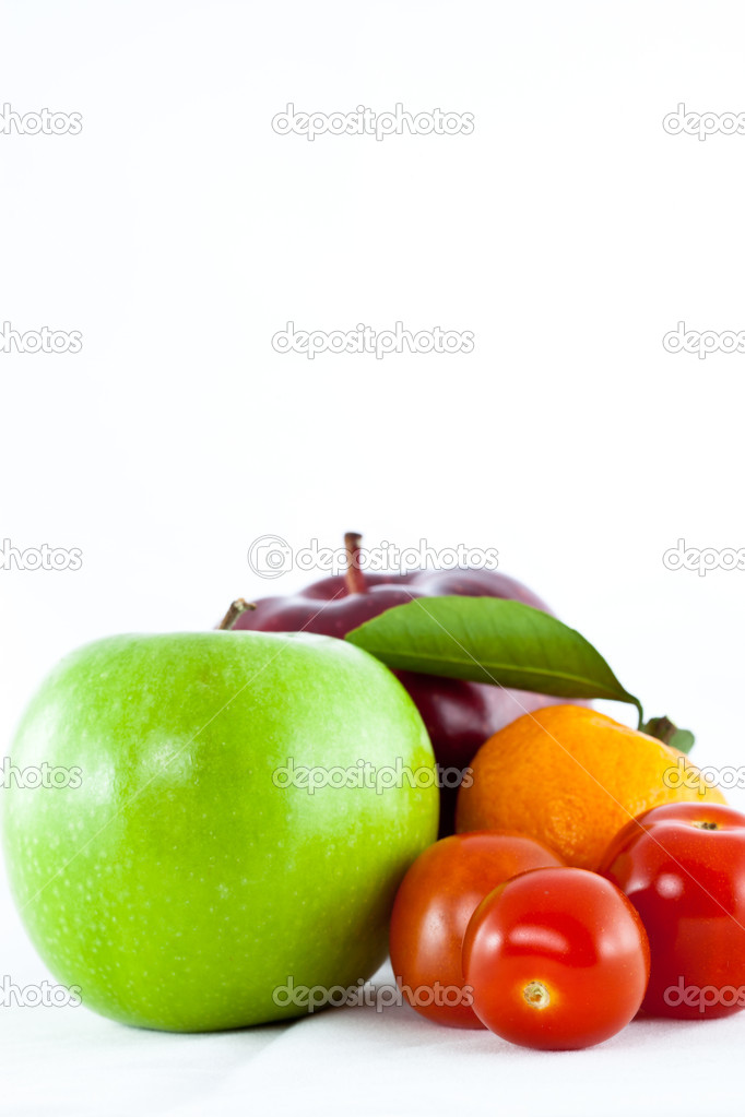 Fruit mix isolated on white background  Stock Photo #8088293