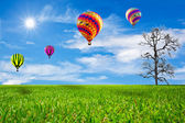 Green field and balloon — Stock Photo