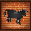 Stock Photo: Blackboard cow bull menu brick wall raster