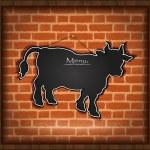 Blackboard cow bull menu brick wall raster — Stock Photo
