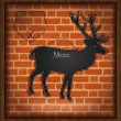 Stock Photo: Blackboard deer menu brick wall raster