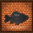 Blackboard fish menu brick wall raster - Stock Photo