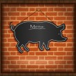 Raster blackboard pig menu card brick wall background - Stock Photo