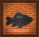 Blackboard fish menu brick wall raster — Stock Photo