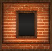 Blackboard frame wood menu brick wall raster — Stock Photo
