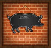 Raster blackboard pig menu card brick wall background — Stock Photo