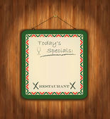 Raster blackboard wooden paper green frame menu — Stock Photo