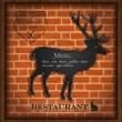 Stock Vector: Vector blackboard deer menu card brick wall background