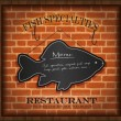 Vector blackboard fish menu brick wall - Stock Vector