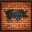 Stock Vector: Vector blackboard pig menu card brick wall background