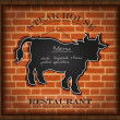 Vector blackboard cow bull menu card brick wall background restaurant — Stock Vector