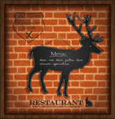 Vector blackboard deer menu card brick wall background — Stock Vector