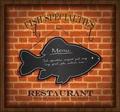 Vector blackboard fish menu brick wall — Stock Vector
