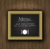 Vector blackboard frame gold restaurant menu card old frame — Stock Vector