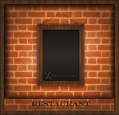 Vector blackboard frame wood menu brick wall — Stock Vector