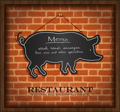 Vector blackboard pig menu card brick wall background — Stock Vector