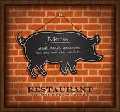 Vector blackboard pig menu card brick wall background — Stock Vector