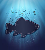 Blackboard fish water blue background drops raster — Stock Photo