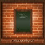 Vector blackboard frame wood menu brick wall green — Stock Vector