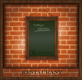 Vector blackboard frame wood menu brick wall green — Stock Vector