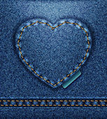 Raster Jeans heart denim texture — Stock Photo