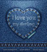 Vector Jeans heart denim texture — Stock Vector