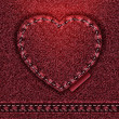 Stock Photo: Raster Jeans heart red denim texture