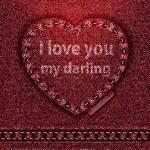 Vector Jeans heart red denim texture — Stock Vector #8835565