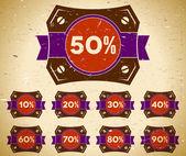 Uppsättning vintage etiketter med försäljning procent — Stockvektor
