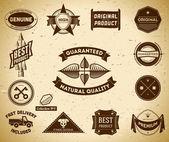 Jeu de labels de qualité premium vintage — Vecteur