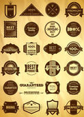Big set of vintage Premium Quality labels — Cтоковый вектор