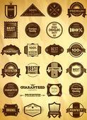 Big set of vintage Premium Quality labels — Stock Vector
