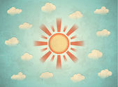 Vintage card with sun — Stockvector
