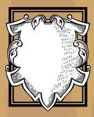 Woodcut ornamental shield — Stock Photo