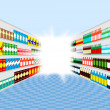 Supermarket shelves perspective with light at the end of corridor - Stock Vector