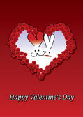 Rabbit's couple Valentine card — Stock Vector