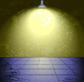 Camera di calcestruzzo grunge con la lampada — Vettoriale Stock