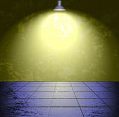 Salle de béton grunge avec la lampe — Vecteur